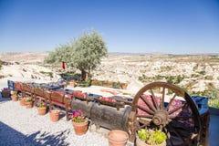 Cappadocia, Turkey. Entourage roadside cafe near Uchisar Stock Photography