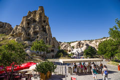 Cappadocia, Turkey. Entrance to the cave monastery complex in the Open Air Museum of Goreme Royalty Free Stock Images