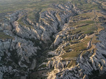 Cappadocia Turkey. The exotic landscape of Cappadocia with its mountains from the air, Goreme, Turkey Stock Images