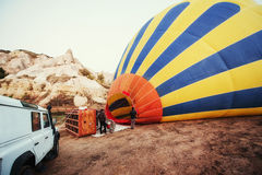 Cappadocia, Turkey. The first crew of flame Stock Photography
