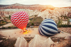 Cappadocia, Turkey. The first crew of flame Stock Photos