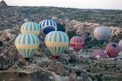 Cappadocia, Turkey. the flight with the balloon at sunrise Royalty Free Stock Photography