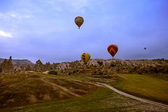 Cappadocia, Turkey - JUNE 01,2018: Festival of Balloons. Flight on a colorful balloon between Europe and Asia. Fulfillment of desi. Res. Extreme. Scenic view Royalty Free Stock Photos