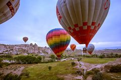 Cappadocia, Turkey - JUNE 01,2018: Festival of Balloons. Flight on a colorful balloon between Europe and Asia. Fulfillment of desi. Res. Extreme. Scenic view stock photos