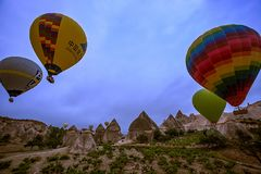 Cappadocia, Turkey - JUNE 01,2018: Festival of Balloons. Flight on a colorful balloon between Europe and Asia. Fulfillment of desi. Res. Extreme. Scenic view Stock Photo