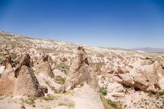 Cappadocia, Turkey. Landscape with bizarre figures of weathering in the Devrent Valley Royalty Free Stock Photo