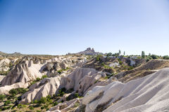 Cappadocia, Turkey. Mountain valley. In the background, an ancient fortress city Uchisar Royalty Free Stock Photos