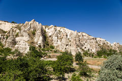 Cappadocia, Turkey. Mountain valley in the National Park of Goreme: man-made caves into the rocks Stock Photography