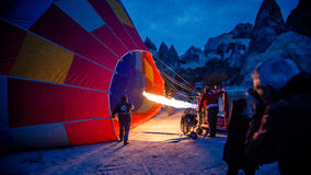 Cappadocia, Turkey - November 15, 2014:  Morning of the Hot Air Balloon being hot air filled with flames Royalty Free Stock Images