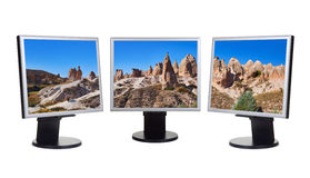 Cappadocia Turkey panorama in computer screens Stock Photos