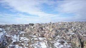 Cappadocia Turkey. Pull Back Aerial Revealing Uchisar Castle and City