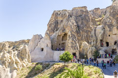 Cappadocia, Turkey. Ruins of the church in the rock at the Open Air Museum in Goreme National Park Stock Image