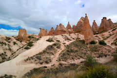 Cappadocia. Turkey. Stone columns Red Valley. Stock Photography
