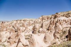 Cappadocia Turkiet BergDevrent dal med diagram av att rida ut Arkivfoto