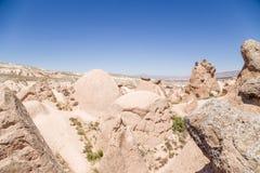 Cappadocia Turkiet Exotiska diagram av att rida ut i dalen Devrent Arkivbild