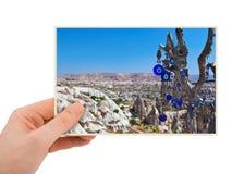 Cappadocia Turkiet fotografi i hand fotografering för bildbyråer