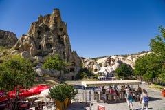 Cappadocia, Turquia Entrada ao complexo do monastério da caverna no museu do ar livre de Goreme Imagens de Stock Royalty Free