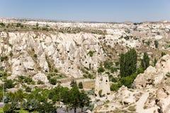 Cappadocia, Turquia Museu pitoresco do ar livre das rochas no parque nacional de Goreme Fotografia de Stock