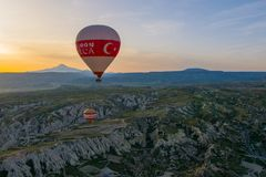 Cappadocia Turquia no balão foto de stock