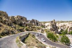 Cappadocia, Turquia Vista superior do museu do ar livre no parque nacional de Goreme Imagens de Stock