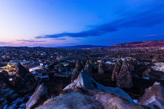 Cappadocia Twilight landscape. Bizarre volcanic rock landscape of Cappadocia , Turkey Royalty Free Stock Images