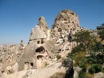 cappadocia洞uchisar城市的火鸡 库存照片
