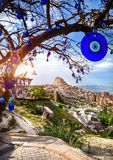 Cappadocia Uchisar castle and tree with amulets Stock Photo