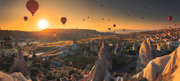 Cappadocia valley at sunrise Royalty Free Stock Photo