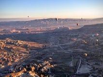 Cappadocia view. Beautiful view with the hot balloons in Cappadocia Stock Photos