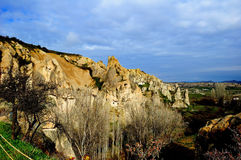 Cappadocia. Views of the dwellings of the first Christians-hermits in the rock Royalty Free Stock Image