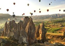 Cappadociaballons van ballon stock foto's