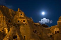 cappadociagoremenightshot Royaltyfria Bilder
