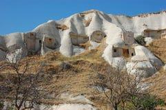 cappadociagrottan houses kalkonen Arkivfoton