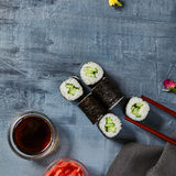 Cappamaki Sushi Roll with Soy Sauce and Ginger over Stone Backgr Stock Photography