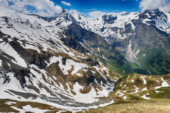 Capped mountain peaks Royalty Free Stock Photo