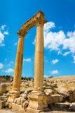 Capped pillars in Jerash Jordan site of an ancient Roman ruin Stock Photos