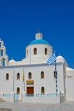 Cappella bianca in Santorini Immagini Stock Libere da Diritti