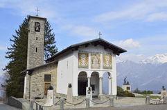 Chapel of the cyclist. The chapel of the rider, in Magreglio Italy, a popular tourist destination and the biggest champions of the world cycling here gave their Royalty Free Stock Photos