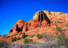 Cappella dell'incrocio santo, montagne rosse della roccia di Sedona Arizona Fotografia Stock