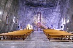 Cappella dell'interno nel museo della miniera di sale di Praid, la Transilvania immagini stock
