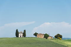 Cappella della Madonna di Vitaleta church in Tuscany royalty free stock images