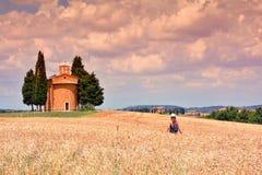 Cappella di Vitaleta, ` Orcia de Val d en Toscane image stock