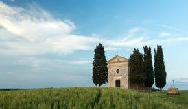 Cappella di Vitaleta in Toscana Fotografia Stock