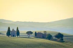 Cappella Di Vitaleta, Val d'Orcia, Toscanië, Italië stock foto's