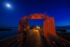 Cappella nella luce della luna Fotografia Stock