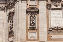 Cappella Paolina Facade met Latijnse inschrijvingen Santa Maria Maggiore, Detail royalty-vrije stock fotografie