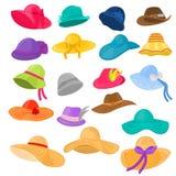 Cappelleria del copricapo o di estate dell'abbigliamento di modo di vettore del cappello della donna e cuffia avricolare accessor royalty illustrazione gratis