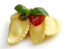 Cappelletti. Fresh noodle with tomato and basil Royalty Free Stock Photography
