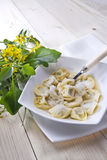 Cappelletti in broth, typical Italian pasta Royalty Free Stock Images