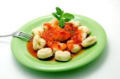 Cappelletti. Pasta stuffed with tomato sauce Royalty Free Stock Photography